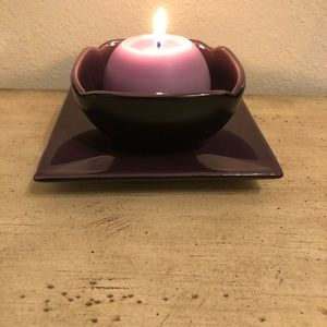 Party lite zen purple candle holder and plate